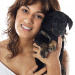 Woman whit her dog — Stock Photo