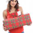 Girl with christmas box — Stock Photo