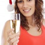 jeune fille tenant un verre de champagne — Photo