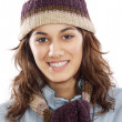 Attractive lady sheltered for winter — Stock Photo #9498984