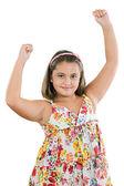 Winner girl with flowered dress — Stock Photo