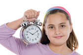Beautiful girl with clock — Stock Photo