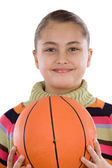 Adorable girl with basketball — Stock Photo