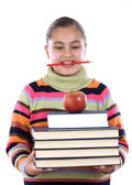 Busy student girl with many books — Stock Photo
