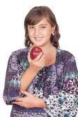 Adorable dziewczyna preteen z jabłkiem — Zdjęcie stockowe