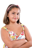 Adorable girl with flowered dress — Stock Photo
