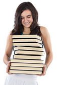 Girl with pile of books — Stock Photo