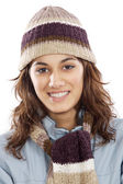 Attractive lady sheltered for the winter — Stock Photo