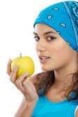 Girl whit an apple — Stock Photo