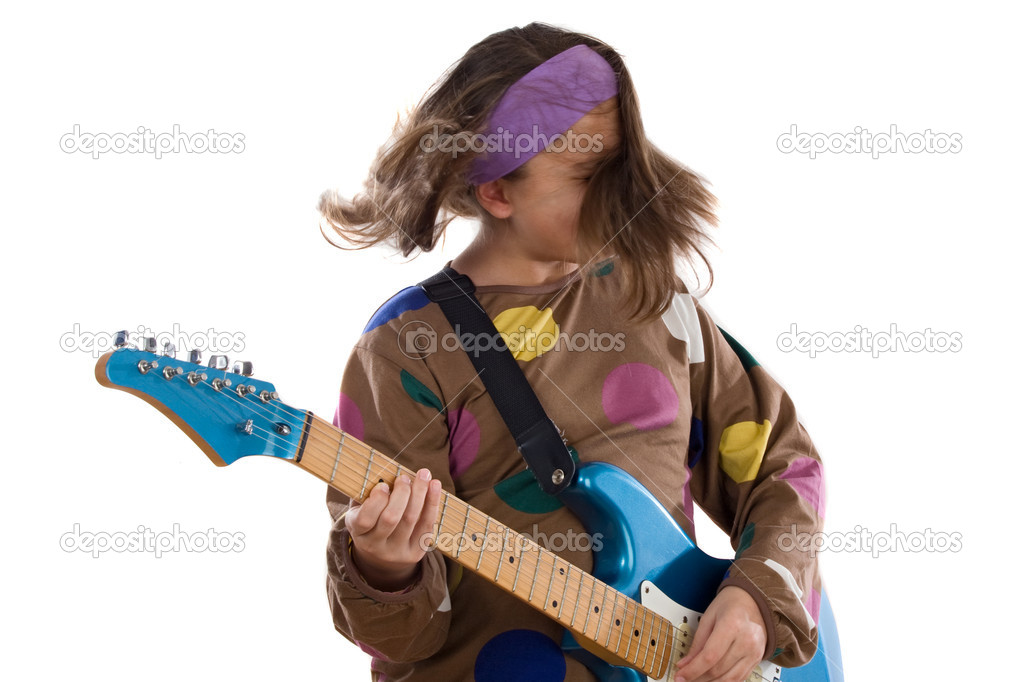 Girl fashion moving whit electric guitar on a over white background  Stock Photo #9497628