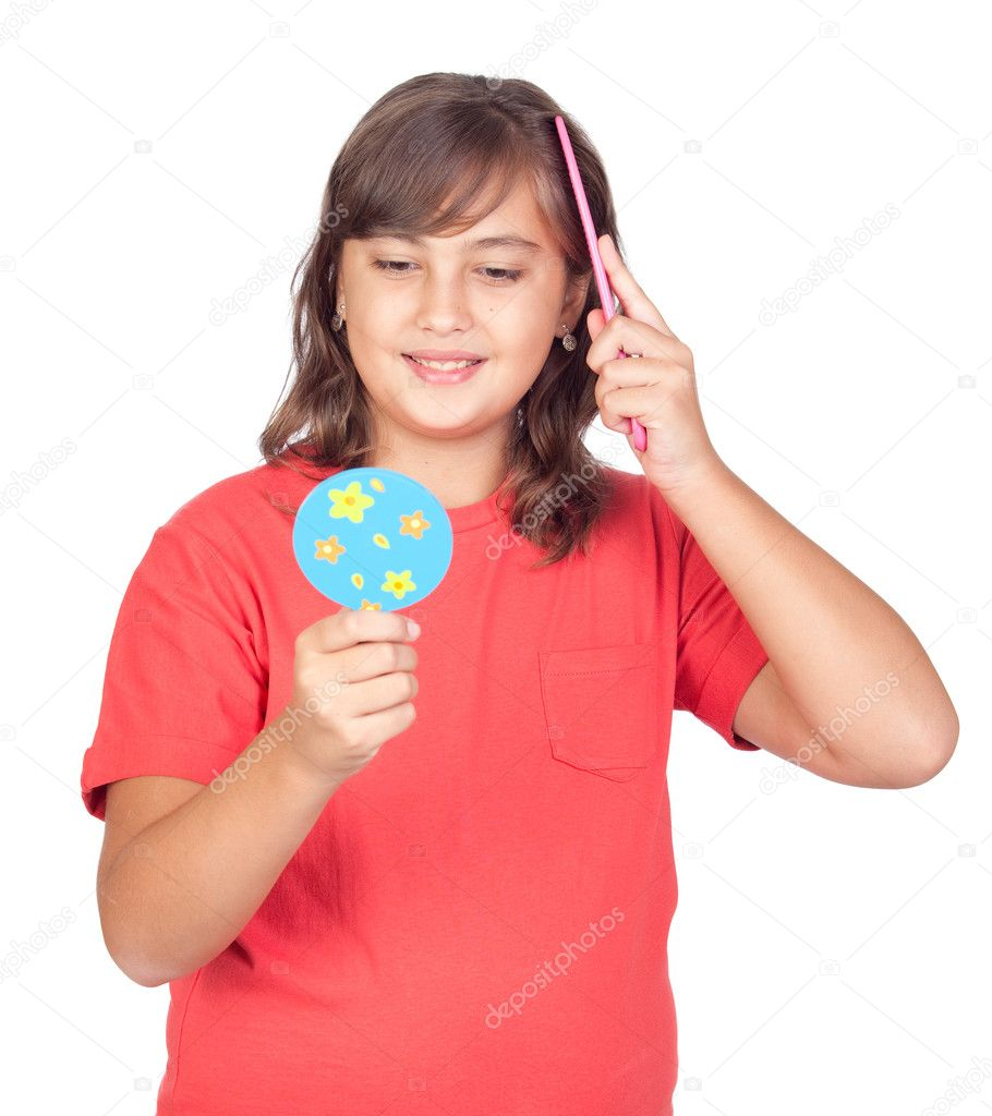 Preteen Girl Bing With Front Mirror Stock Photo