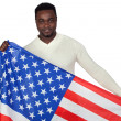 Attractive african man with a American flag — Stock Photo #9500945