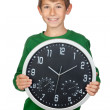 Adorable boy with a big clock — Stock Photo #9501766