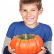 Adorable child with a big pumpkin — Stock Photo #9501885