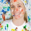 Woman painting — Stock Photo