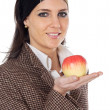 Attractive girl with apple in the hand — Stok fotoğraf