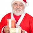 Smiley Santa Claus with two gifts — Stock Photo #9504199