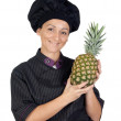 Pretty cook woman with pineapple — Stock Photo #9506372