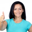 Adorable woman with blue t-shirt saying Ok — Stock Photo #9506462
