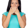Adorable woman covering her mouth — Stock Photo #9506531