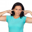 Sad woman covering her ears — Stock Photo #9506534