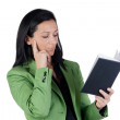 Businesswoman reading the diary — Stock Photo #9506878