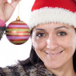 Beautiful girl with red ball of christmas — Stock Photo