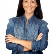 Adorable woman with denim shirt — Stok fotoğraf