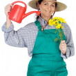 Stock Photo: Attractive happy woman dressed gardener