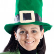 Woman with a hat green - Stock Photo