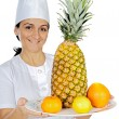 Happy attractive cook woman — Stock Photo