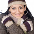Attractive lady sheltered for winter — Stockfoto #9507833