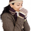 Attractive lady sheltered for winter drinking tecup — Stock fotografie #9507847
