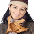 Attractive lady sheltered for the winter — Stock Photo #9507851