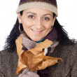 Attractive lady sheltered for the winter — Stock Photo #9507854