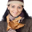 Attractive lady sheltered for winter — Stock Photo #9507854