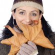 Attractive lady sheltered for the winter — Stock Photo #9507858