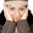 Attractive lady sheltered for the winter — Stock Photo #9507860
