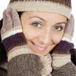 Attractive lady sheltered for winter — Stock Photo #9507867