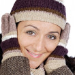 Attractive lady sheltered for the winter — Foto Stock