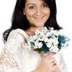 Attractive bride wearing white dress — Stock Photo #9507870