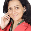 Attractive girl listening music with earpieces — Stock Photo