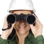 Woman with binoculars — Stock Photo