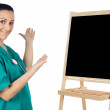 Lady doctor whit slate — Stock Photo