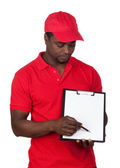 Worker courier with red uniform — Stock Photo