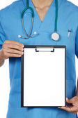 Anonymous doctor whit notepad — Stock Photo
