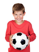 Student little child with soccer ball — Stock Photo