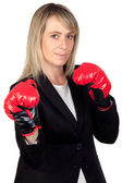 Challenging business woman with boxing gloves — Foto de Stock