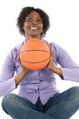 Woman with balloon of basketball — Stock Photo