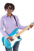 Woman playing an electric guitar — Stock Photo